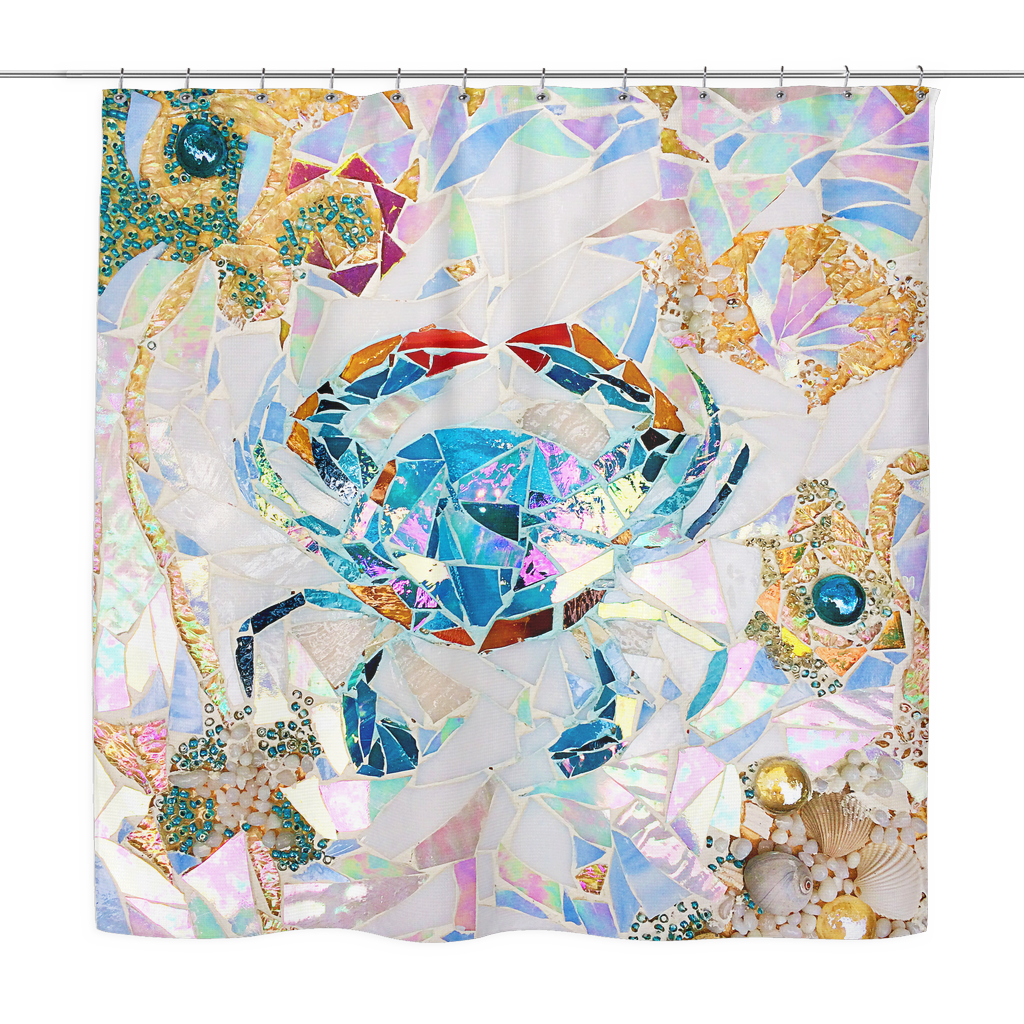 Blue Crab Mosaic Shower Curtain Jan Marvin Art Studio