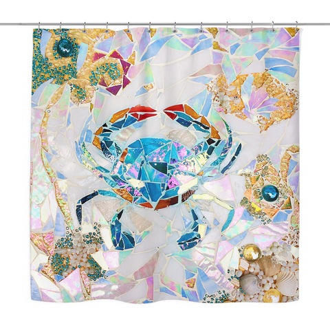 Blue Crab Mosaic Shower Curtain
