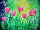 Dancing Tulips Tile Mural, High Quality (won't fade), Indoor or Outdoor, Beach Wall Tiles, Backsplash, Shower, Mosaic