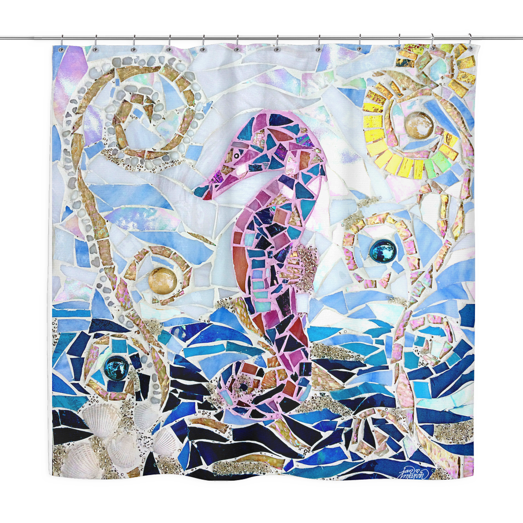 Seahorse Mosaic Shower Curtain Jan Marvin Art Studio