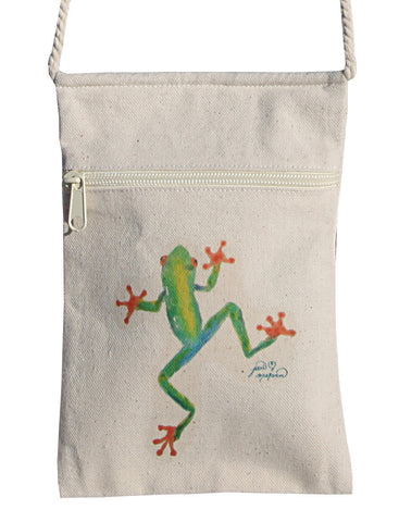 Red Eyed Tree Frog Cell Phone Cotton Crossbody Purse