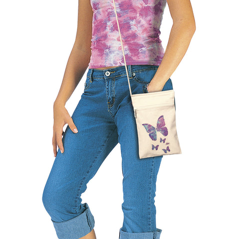 Butterflies Small Cell Phone Cotton Crossbody Purse