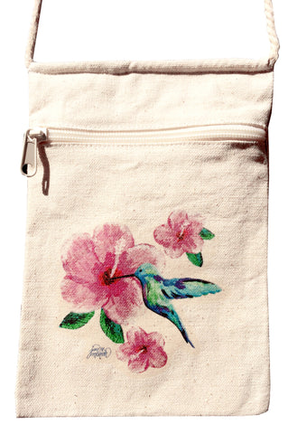Hummingbird Small Cell Phone Cotton Crossbody Purse