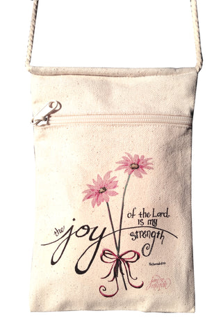 Joy of the Lord Small Cell Phone Crossbody Cotton Purse with Pink Daisies
