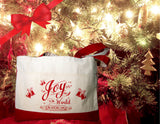Christmas Tote Bag w/Joy to the World Bible Verse, Cotton Canvas w/Red calligraphy