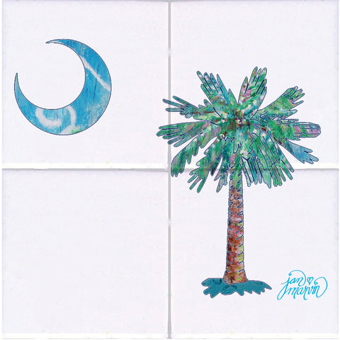 Palmetto Tree & Moon Tile Mural, High Quality (won't fade), Indoor or Outdoor, Beach Wall Tiles, Backsplash, Shower, Mosaic