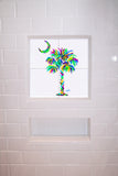 Palmetto Tree & Moon Turquoise Tile Mural, High Quality (won't fade), Indoor or Outdoor, Beach Wall Tiles, Backsplash, Shower, Mosaic