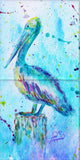 Pelican w/background Tile Mural, High Quality (won't fade), Indoor or Outdoor, Beach Wall Tiles, Backsplash, Shower, Mosaic