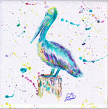 Pelican w/Paint Tile Mural, High Quality (won't fade), Indoor or Outdoor, Beach Wall Tiles, Backsplash, Shower, Mosaic