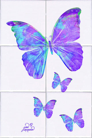 Purple Butterflies White Tile Mural, High Quality (won't fade), Indoor or Outdoor, Beach Wall Tiles, Backsplash, Shower, Mosaic