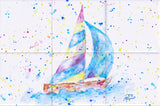 Sailboat Tile Mural, High Quality (won't fade), Indoor or Outdoor, Beach Wall Tiles, Backsplash, Shower, Mosaic