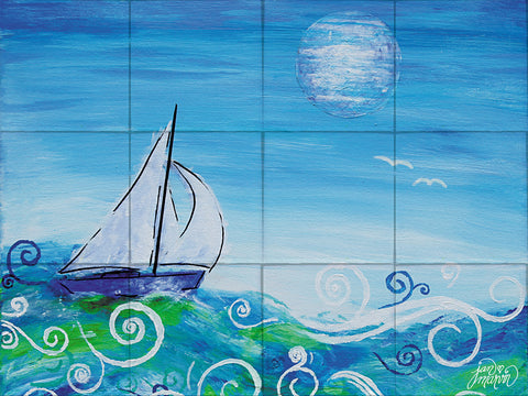 Sailing Tile Mural, High Quality (won't fade), Indoor or Outdoor, Beach Wall Tiles, Backsplash, Shower, Mosaic