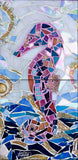 Seahorse Mosaic Tile Mural, High Quality (won't fade), Indoor or Outdoor, Beach Wall Tiles, Backsplash, Shower, Mosaic