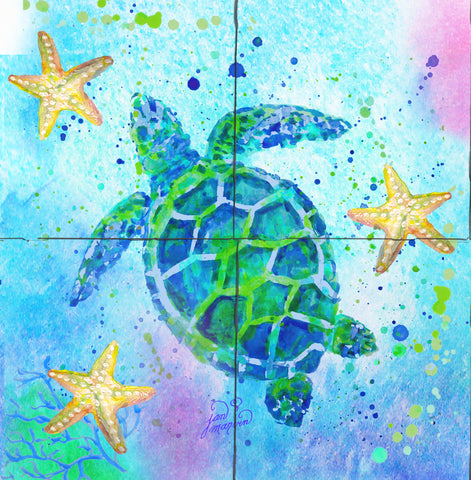Turtle with Starfish Tile Mural, High Quality (won't fade), Indoor or Outdoor, Wall Tiles, Backsplash, Shower, Mosaic
