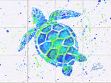 Turtle w/Paint Tile Mural, High Quality (won't fade), Indoor or Outdoor, Beach Wall Tiles, Backsplash, Shower, Mosaic