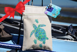 Sea Turtle Cell Phone Crossbody Purse, Cotton Canvas, small tote bag, FREE starfish pendant