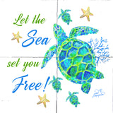 Turtle with Coral Tile Mural, Let the Sea Set You Free, High Quality (won't fade), Indoor or Outdoor, Wall Tiles, Backsplash, Shower, Mosaic