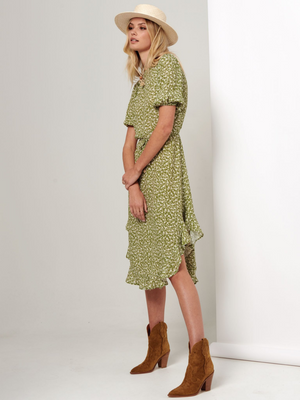 Kivari Gracie Floral High Neck Midi Dress I Southern Hippie