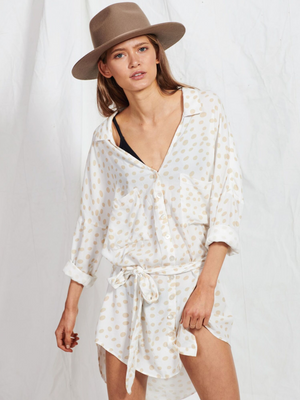 Latte Polka Shirt Dress from Southern Hippie in Austin, Texas