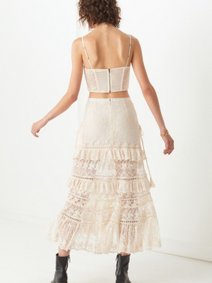 Spell and the Gypsy Le Gauze Lace Tiered Skirt I Southern Hippie