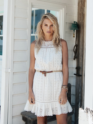 Kivari's Lilly Shift Dress in white eyelet