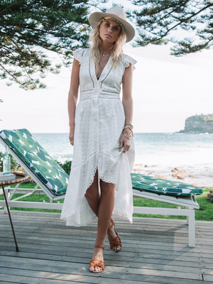Kivari's Lilly Midi Dress in white eyelet