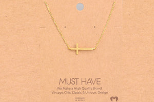 Side Cross Pendant Necklace