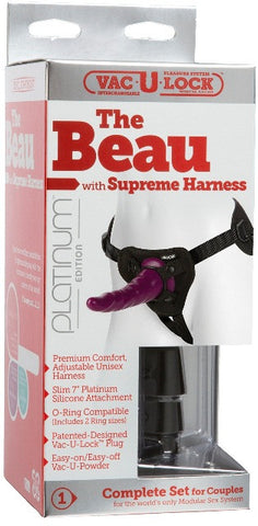 Vac-U-Lock Platinum - The Beau with Supreme Harness Purple | Strap-Ons @ TrySexMachines | Australia