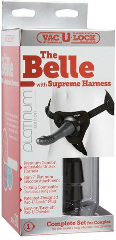 Vac-U-Lock Platinum - The Belle with Supreme Harness Charcoal | Strap-Ons @ TrySexMachines | Australia