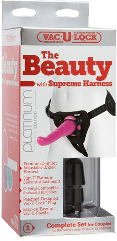 Vac-U-Lock Platinum - The Beauty with Supreme Harness Pink | Strap-Ons @ TrySexMachines | Australia