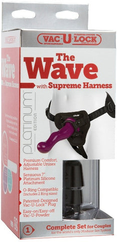 Vac-U-Lock Platinum - The Wave with Supreme Harness Purple | Strap-Ons @ TrySexMachines | Australia