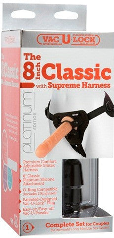 "Vac-U-Lock Platinum - The 8"" Classic with Supreme Harness Flesh 