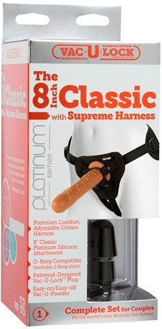 "Vac-U-Lock Platinum - The 8"" Classic with Supreme Harness Brown 