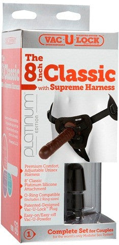 "Vac-U-Lock Platinum - The 8"" Classic with Supreme Harness Black 