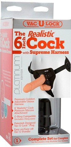 "Vac-U-Lock Platinum - The 6"" Realistic with Supreme Harness Flesh **** 