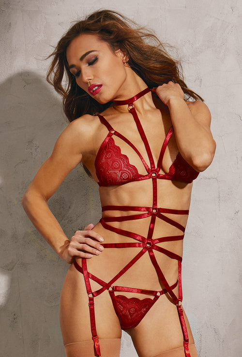 Strappy Bra and Garter Play Set