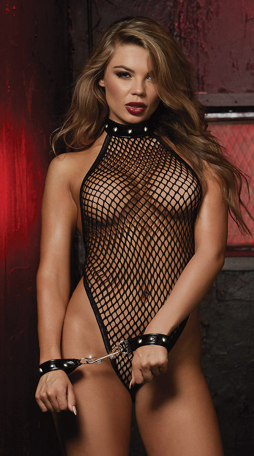 Teddy with Studded Neckline and Wrist Restraints