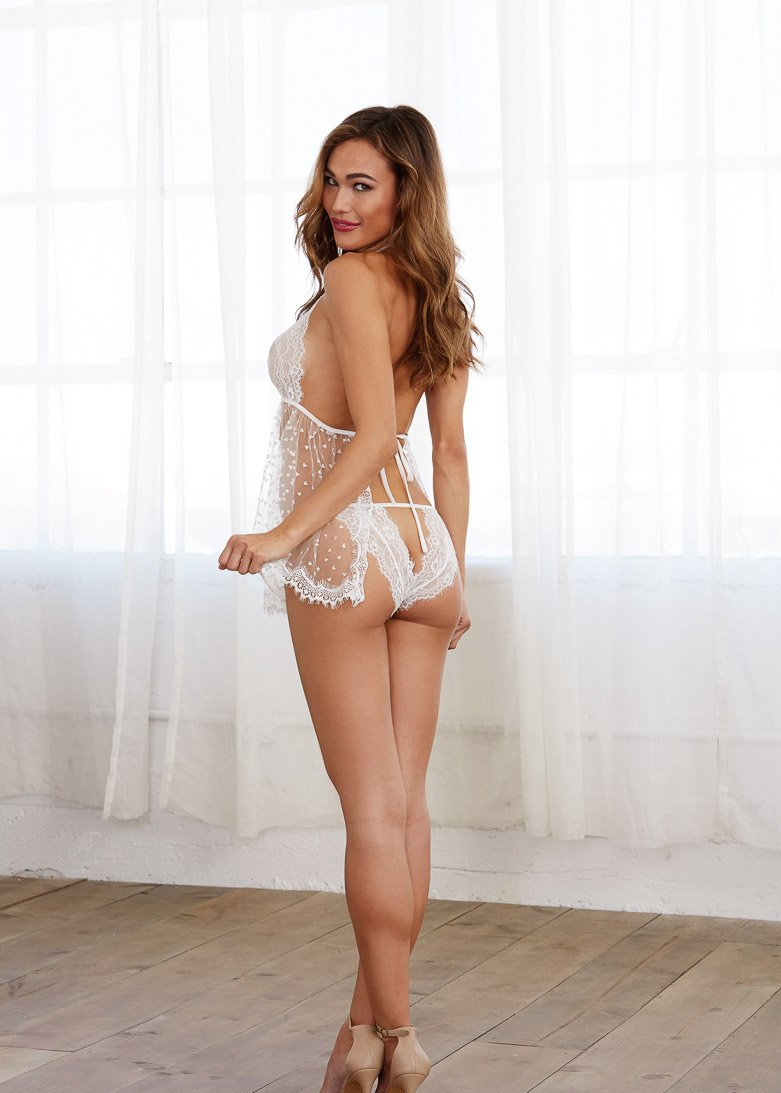 Bridal Babydoll with Open-Back Lace Panty