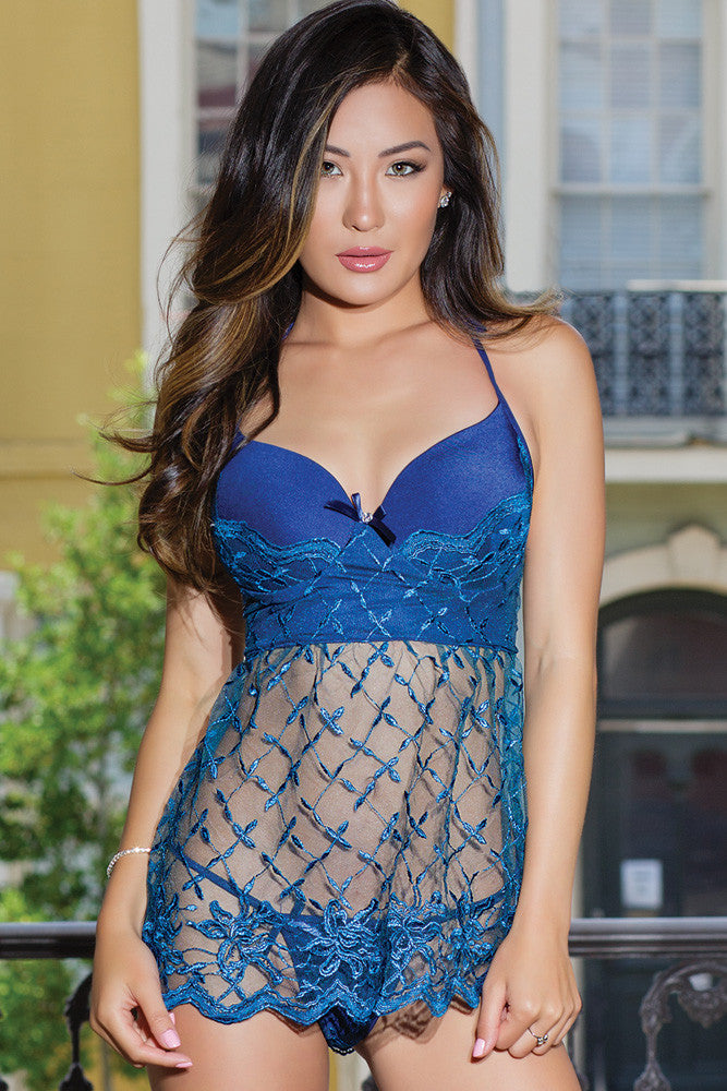 Halter Babydoll with Lace Skirt & G-String