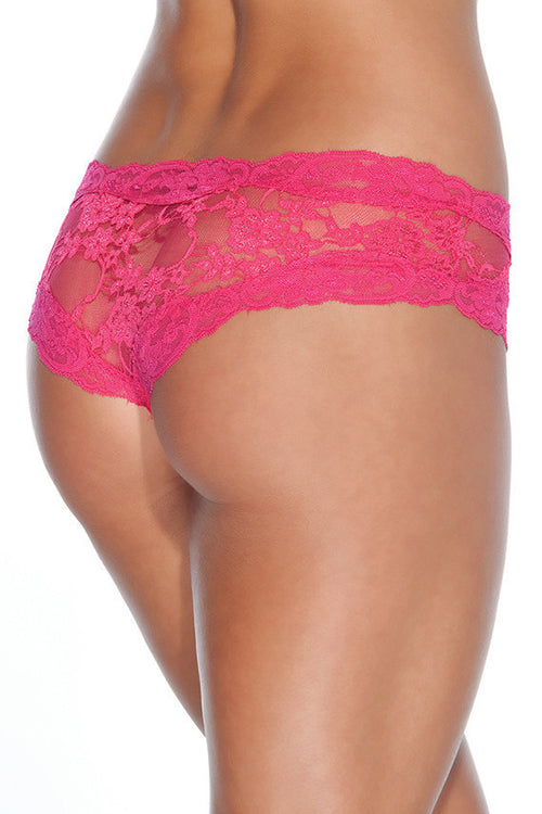 Floral Print Lace Crotchless Panty