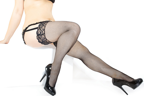 Fishnet Stocking with Lace Top