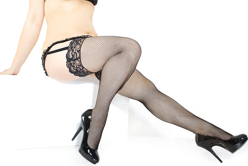 Fishent Stockings with Lace top