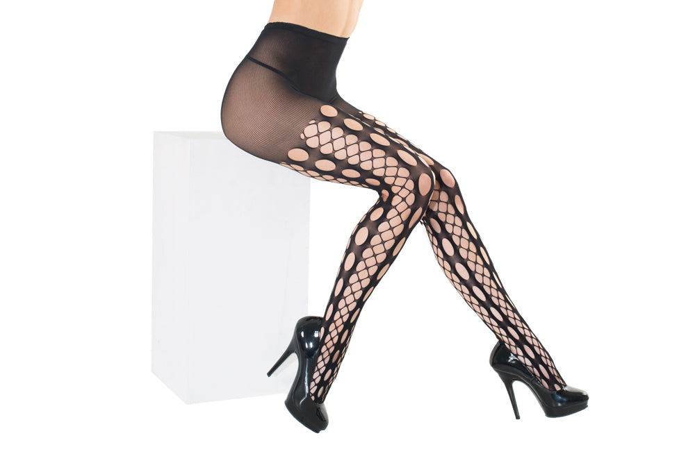 Multi-net panel fishnet pantyhose