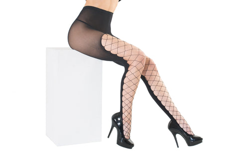Diamond net front Oqaque back panel Pantyhose