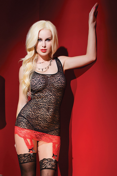 Leopard Tank Top with Lace Garters