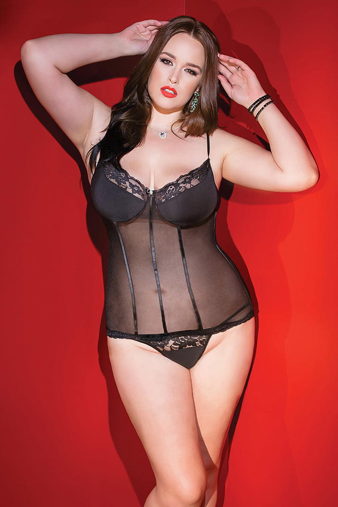 Mesh & Lace Bustier & G-String