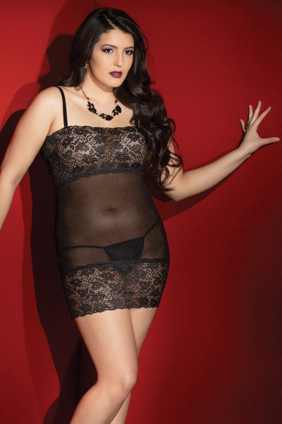 Mesh Tube Dress with Lace Bust