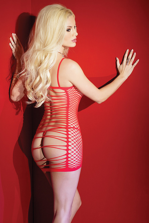 Red Fishnet Dress with Strappy Back