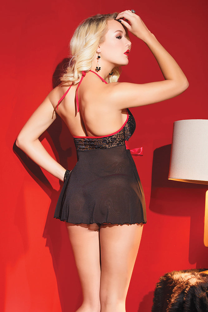 Lace & Mesh Babydoll with G-String