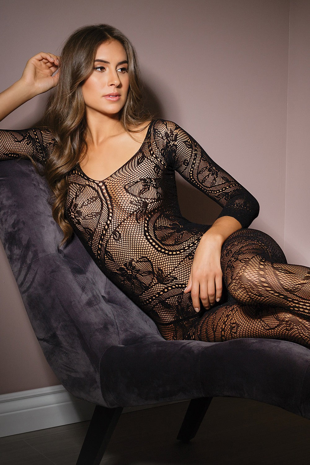 Lace print long sleeve bodystocking